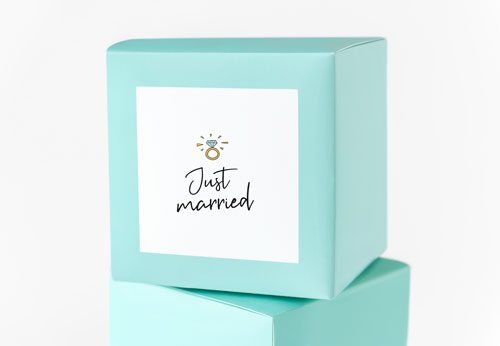 Just married wedding sticker