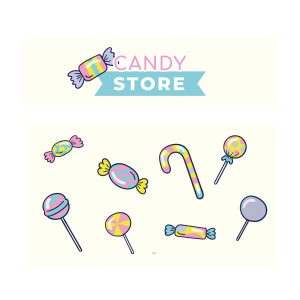 Candy store snoepwinkel sticker set