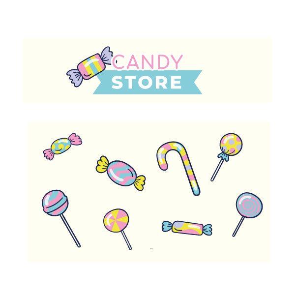 Candy store snoepwinkel sticker set