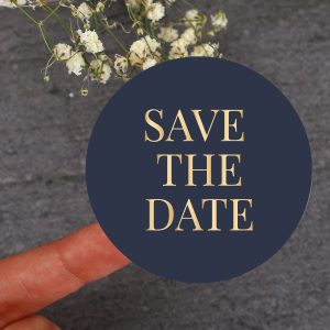 Save the date blauw sticker