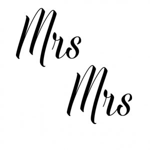 Mrs Mrs wedding sticker ringdoosje