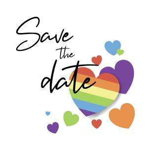Save the date rainbow stickers